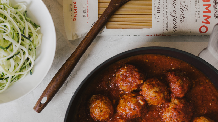 Turkey Meatballs in Tomato Sauce with Zucchini Noodles