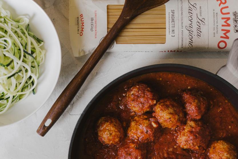 Turkey Meatballs in Tomato Sauce Spaghetti or Zucchini Noodles