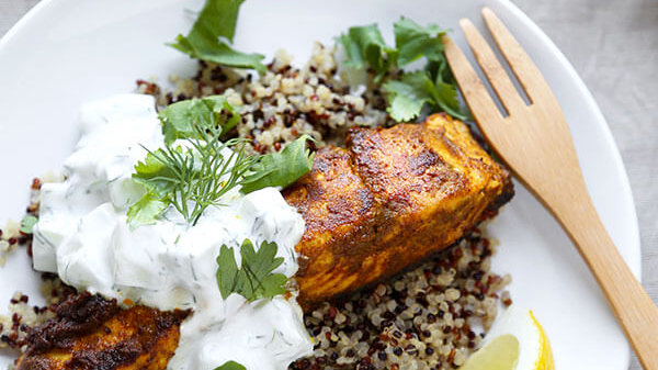 Curried Salmon with Cucumber Riata