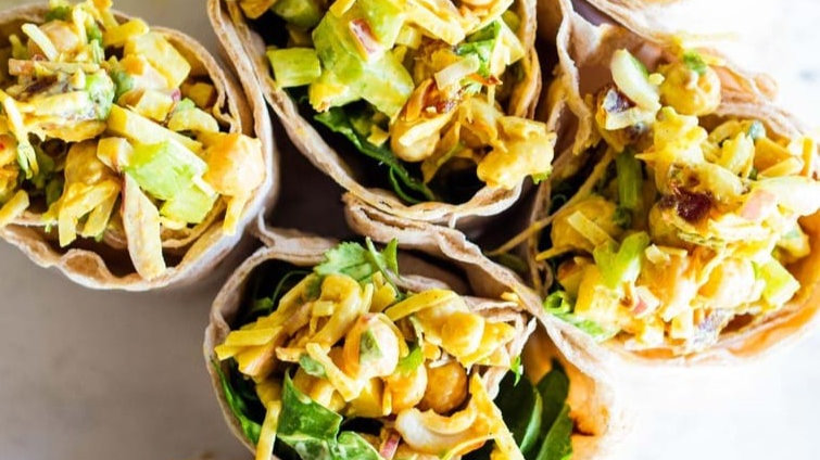 Curried Chickpea Salad Wraps