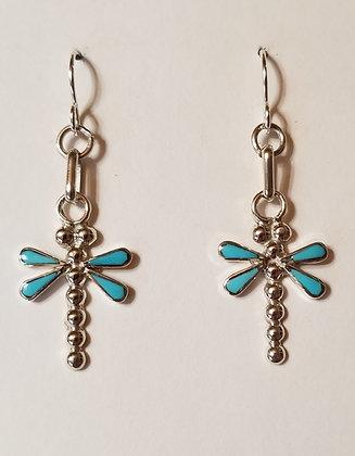 Zuni Sleeping Beauty turquoise & Sterling Silver Earrings by Erlene Edaakie.