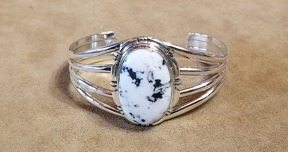 White Buffalo & Sterling Silver Bracelet by Navajo Artist Thomas Francisco