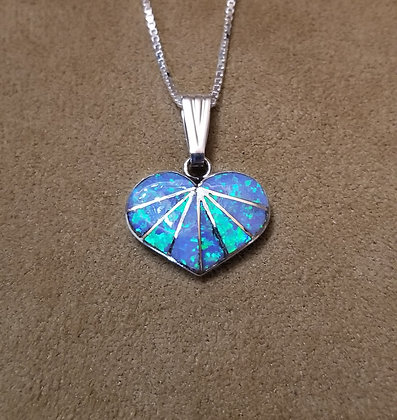 Zuni Sterling Silver and Man Made Opal Heart Pendant