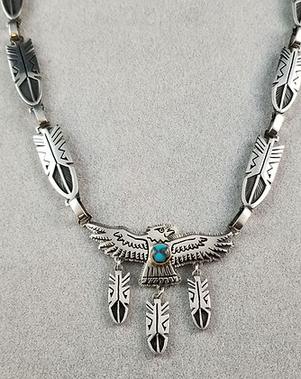 Gerald Lomaventema Silver & Bisbee Turquoise Eagle Necklace