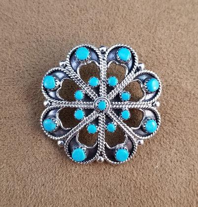 Zuni Turquoise & Sterling Silver Pin/Pendant by Murry & Arlene Tsatie