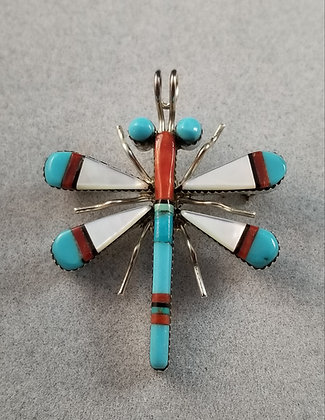 Zuni Sterling Silver and Multi Color Dragonfly by Wayne Haloo