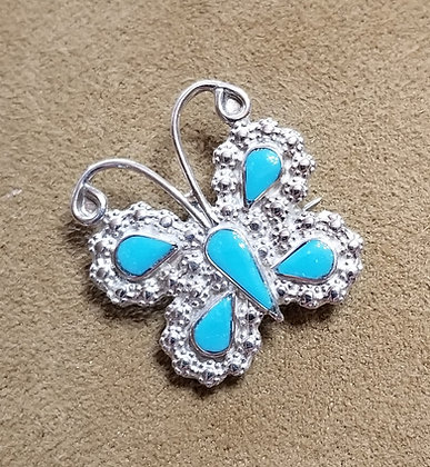 Zuni Turquoise & Sterling Silver Butterfly Pin/Pendant by Emma Edaakie