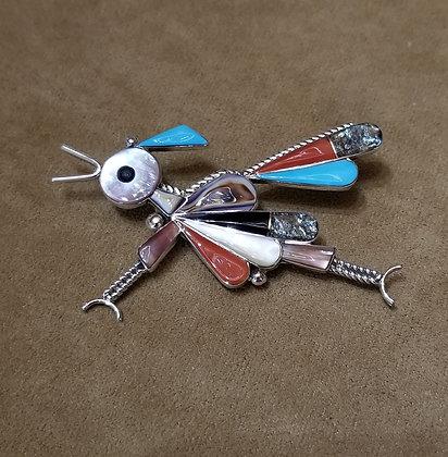 Large Zuni inlayed Roadrunner pin/pendant by Caroline Edaakie.