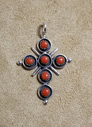 Zuni Sterling Silver and Coral Cross by Terry Dishta