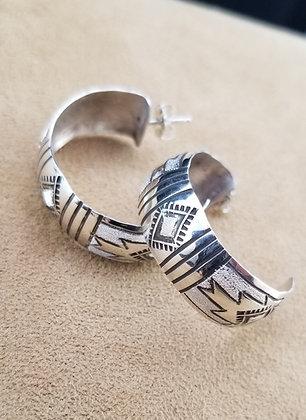Navajo Sterling Silver Hoop Earrings by Verna & Franklin Tahe