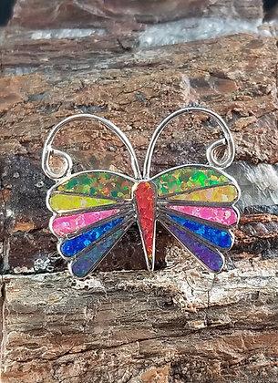 Zuni Sterling Silver & Man Made Opal Butterfly by Emma Edaakie