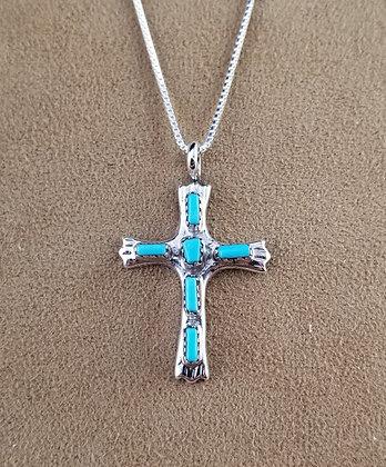 Zuni Turquoise & Sterling Silver Cross by George & Lupeta Leekity.
