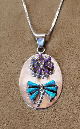 Zuni Sterling Silver & Man Made Opal Dragonfly & Flower Pendant