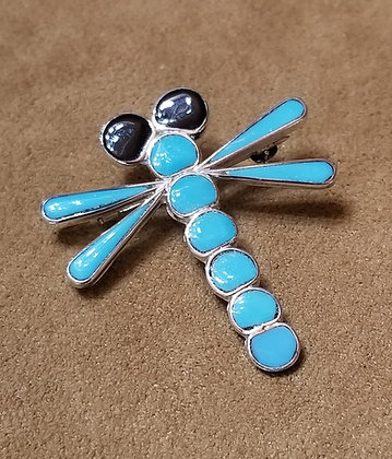 Zuni Turquoise Dragonfly Pin/Pendant by Emma Edaakie