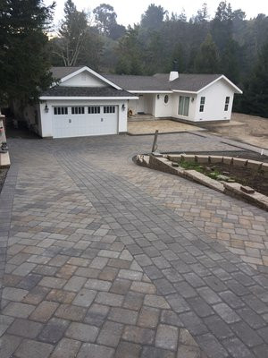 Paver Driveway with Running Bond Walkway