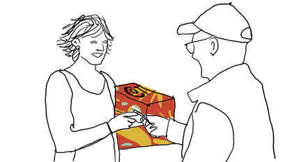 Receiving the package at home