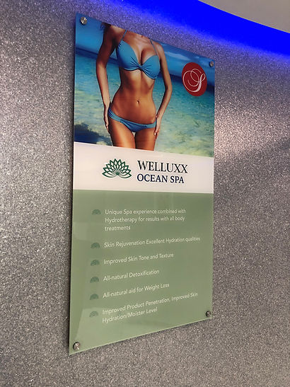 Full color acrylic informational sign wall mounted with standoffs