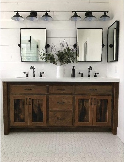 MODERN FARMHOUSE Must Have: Reclaimed Wood. Rustic industrial reclaimed oak bathroom vanity from Keeriah. More inspo and review at lovinglygray.com.