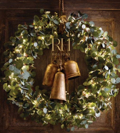 Restoration Hardware Holiday Cover. Brass Bells. Wreath.