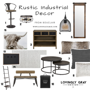 Rustic industrial decor from Bouclair to create a Modern Farmhouse. Cozy pillows, Highland Cattle Canvas, and more at lovinglygray.com or @lovinglygraydesign