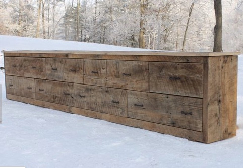 MODERN FARMHOUSE Must have: Reclaimed wood! Reclaimed oak media cabinet by Keeriah. More at lovinglygray.com or @lovinglygraydesign