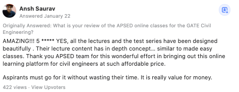 APSEd Review by Ansh Saurav in Quora