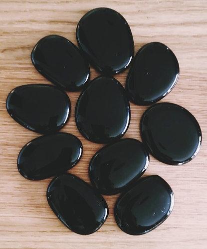 10 Plain Black Imagistones- LARGE