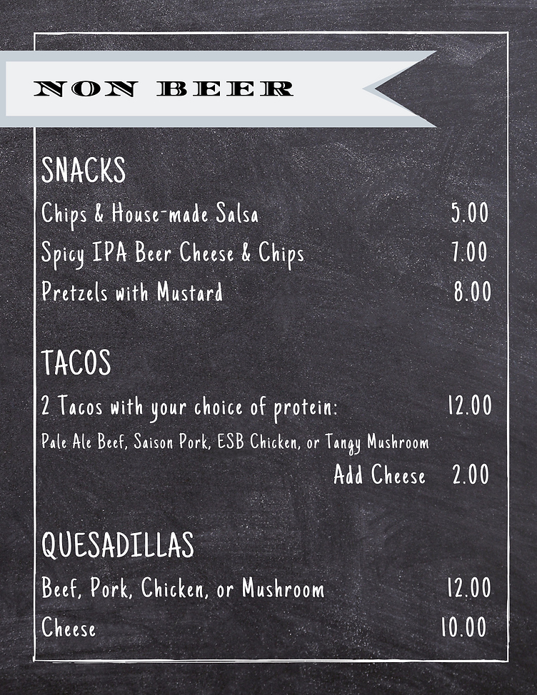 endeavour menu-snacks, tacos, quesadillas