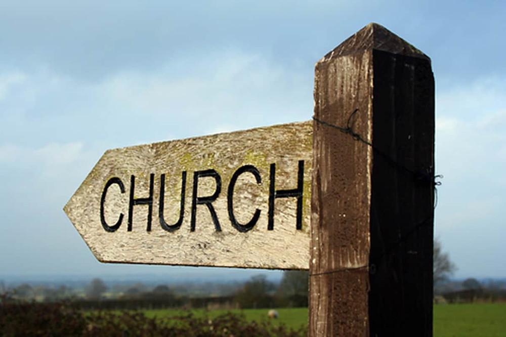 Wooden church sign