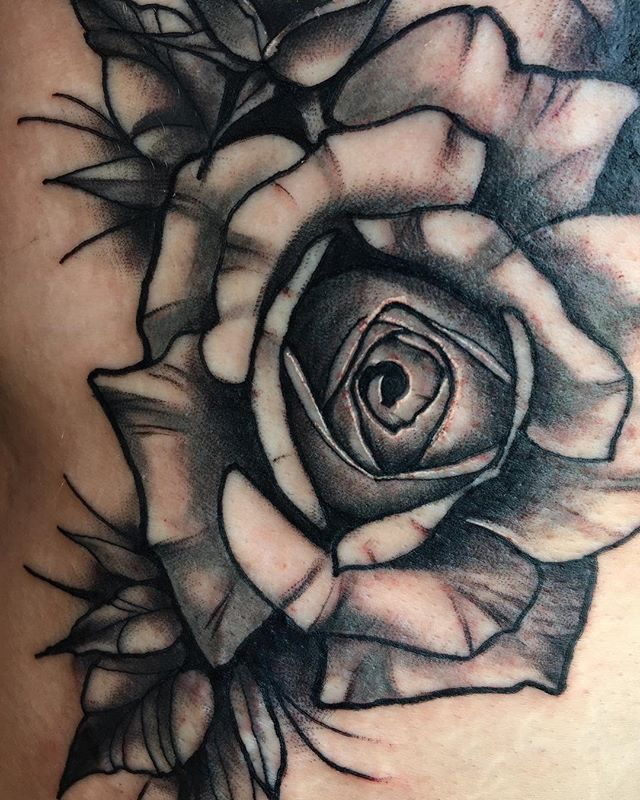 Close up of a rose I've done in black an