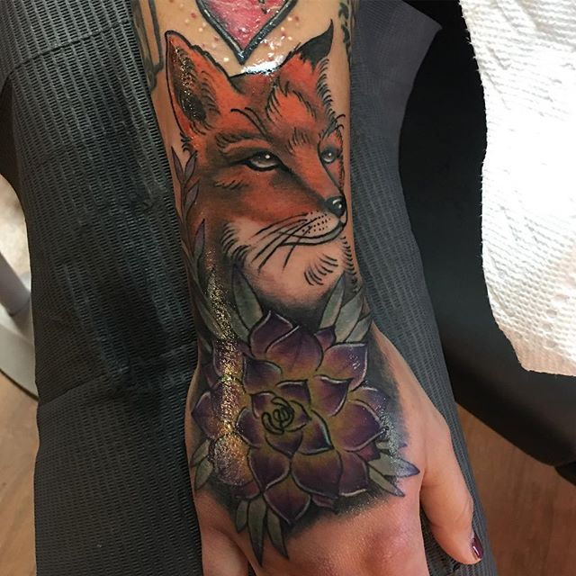 Fun one today on T, thanks girl #tattoo #tattoos #fox #succulents #blackswordalliance #muncie