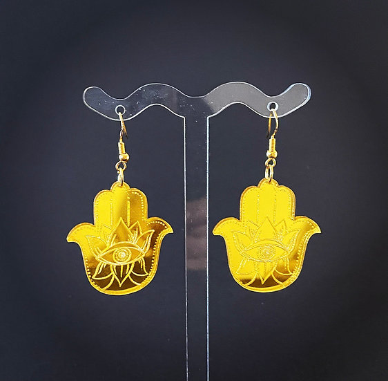 Gold Hamsa Etched Earrings