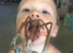 Parenting in real life, none plus 5, licking the beaters