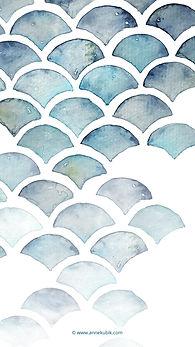Smartphone-Wallpaper Aquarell-Fischschuppenmuster