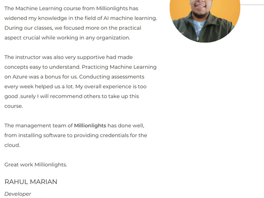 Testimonials :- Read what our learners have to say.