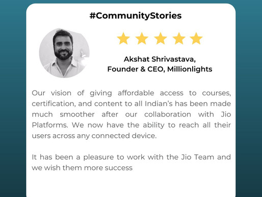 Millionlights and Jio - How we are impacting learning in India