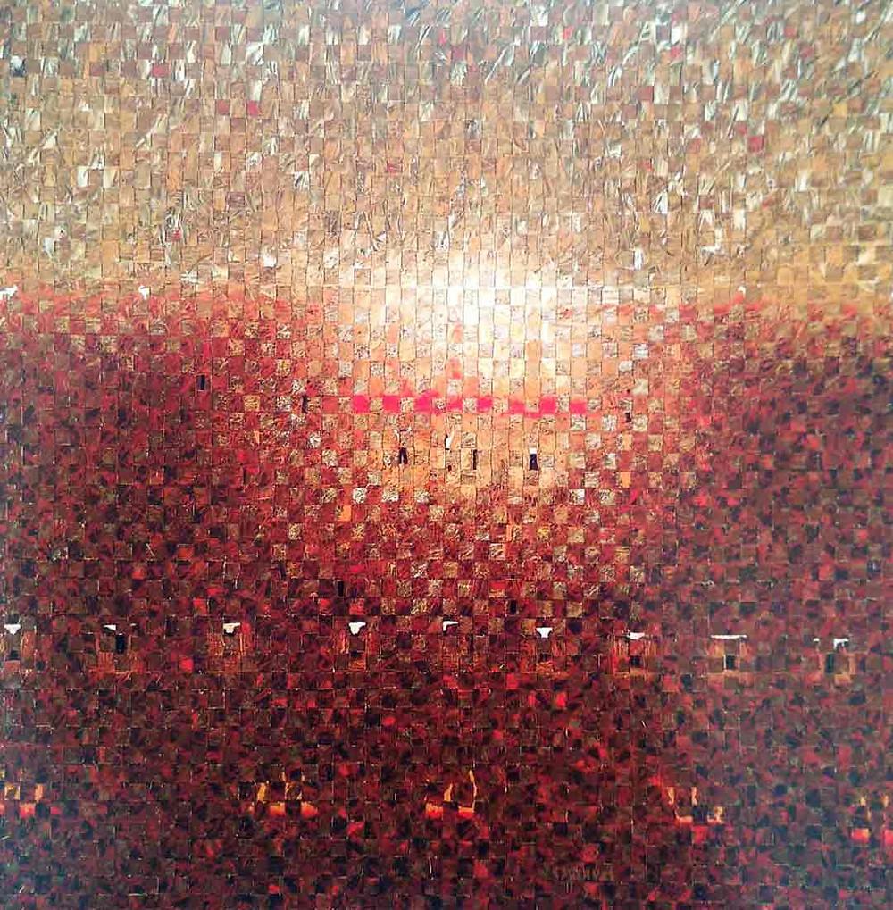 """Obra de Eduardo Esquivel. Óleo sobre tela, """"Lluvia"""" 120 x 120 cm. Praxis."""