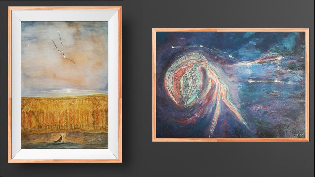 """Acuarela Tauro y óleo sobre tela """"Cabello constelar"""""""