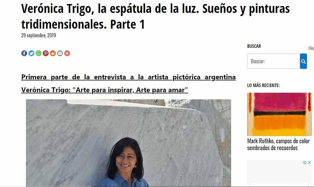 entrevista Veronica Trigo en revista Arte en Todo