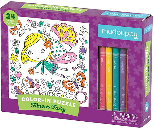 Flower Fairy Color-in Puzzle: 24 Pieces