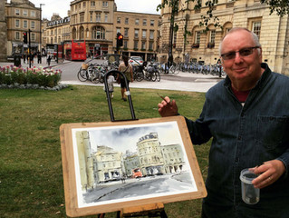 My watercolour painting day in the middle of Bath (Picture taken by passing tourist from the states)