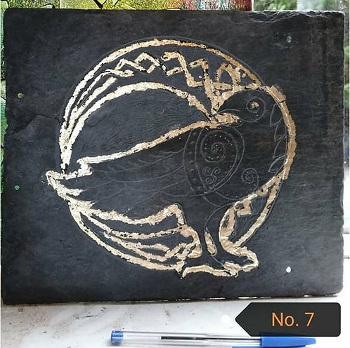 Raven in circle of Runes by Fiona Melford