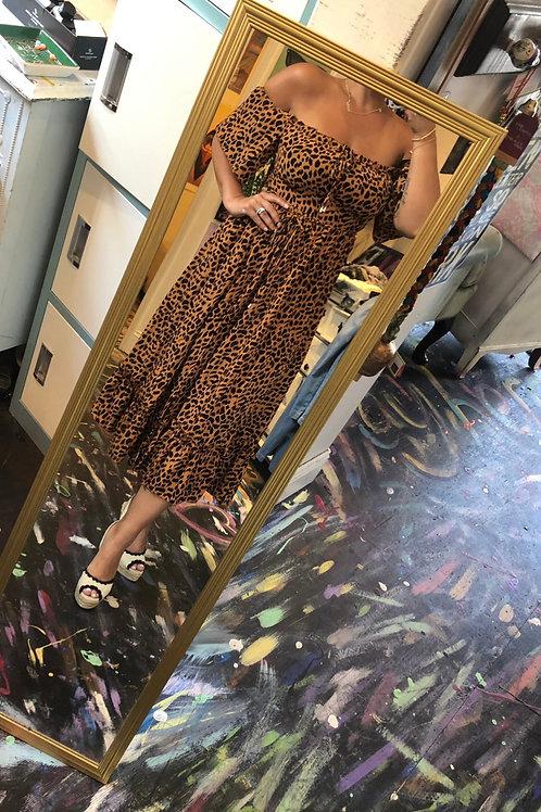 Leopard midi shoulder dress