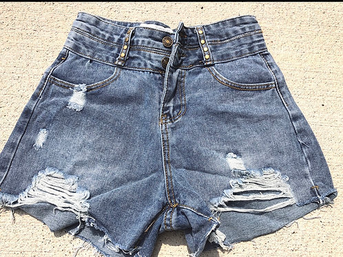 Destructed denim shorts