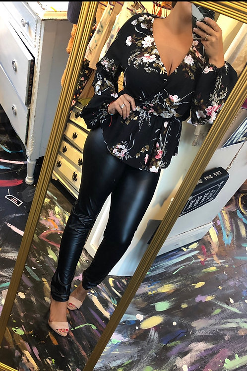Black floral peplum top