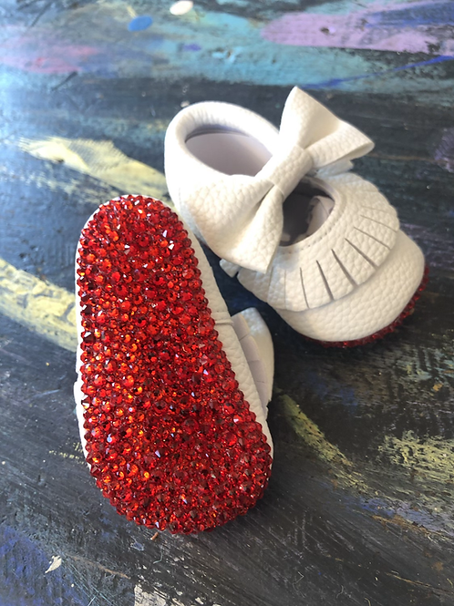 Crystal red bottom infant crib shoes