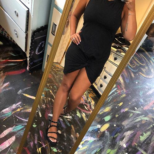 Black twist tshirt dress