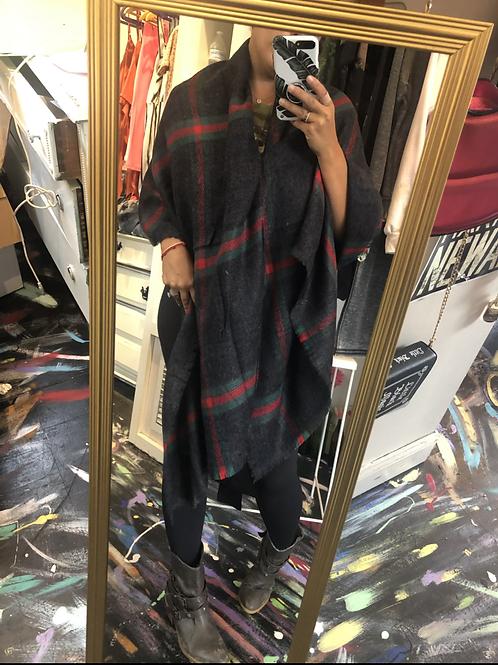 Red & green striped shawl/scarf