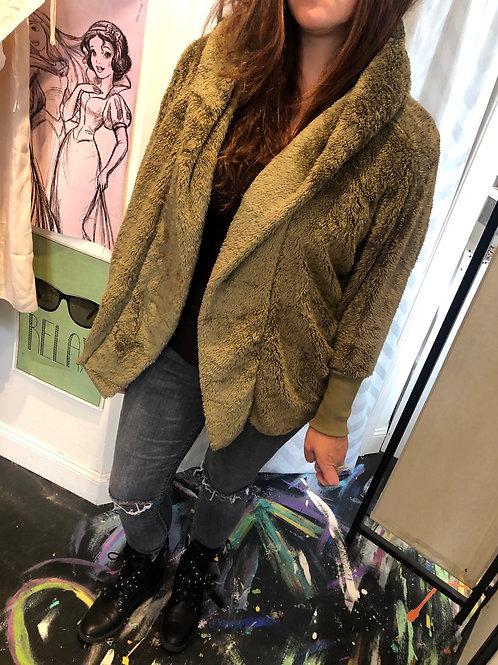 Olive teddy coat