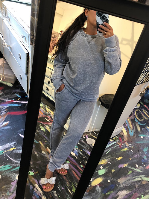 Grey vintage wash sweatsuit